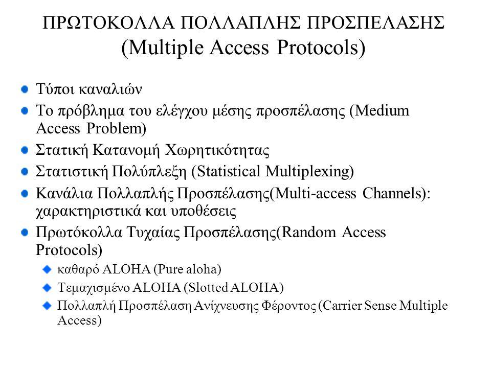 ΠΡΩΤΟΚΟΛΛΑ ΠΟΛΛΑΠΛΗΣ ΠΡΟΣΠΕΛΑΣΗΣ (Multiple Access Protocols) Τύποι καναλιών Το πρόβλημα του ελέγχου μέσης προσπέλασης (Medium Access Problem) Στατική Κατανομή Χωρητικότητας Στατιστική Πολύπλεξη (Statistical Multiplexing) Κανάλια Πολλαπλής Προσπέλασης(Multi-access Channels): χαρακτηριστικά και υποθέσεις Πρωτόκολλα Τυχαίας Προσπέλασης(Random Access Protocols) καθαρό ALOHA (Pure aloha) Τεμαχισμένο ALOHA (Slotted ALOHA) Πολλαπλή Προσπέλαση Ανίχνευσης Φέροντος (Carrier Sense Multiple Access)