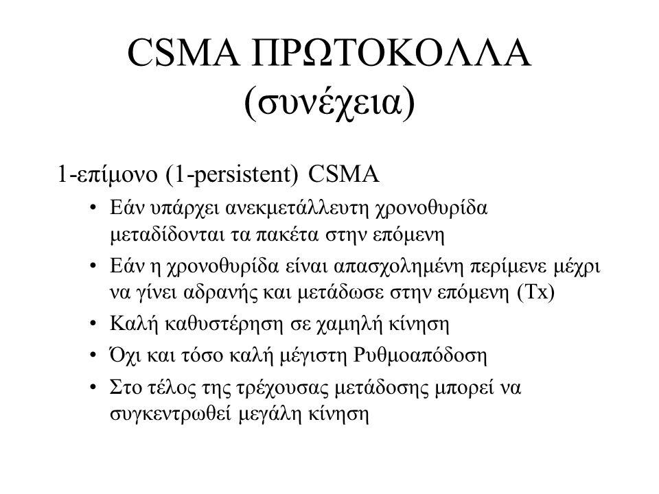 1-επίμονο (1-persistent) CSMA Εάν υπάρχει ανεκμετάλλευτη χρονοθυρίδα μεταδίδονται τα πακέτα στην επόμενη Εάν η χρονοθυρίδα είναι απασχολημένη περίμενε μέχρι να γίνει αδρανής και μετάδωσε στην επόμενη (Tx) Καλή καθυστέρηση σε χαμηλή κίνηση Όχι και τόσο καλή μέγιστη Ρυθμοαπόδοση Στο τέλος της τρέχουσας μετάδοσης μπορεί να συγκεντρωθεί μεγάλη κίνηση