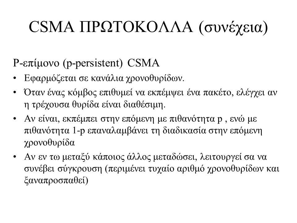 CSMA ΠΡΩΤΟΚΟΛΛΑ (συνέχεια) P-επίμονο (p-persistent) CSMA Εφαρμόζεται σε κανάλια χρονοθυρίδων.