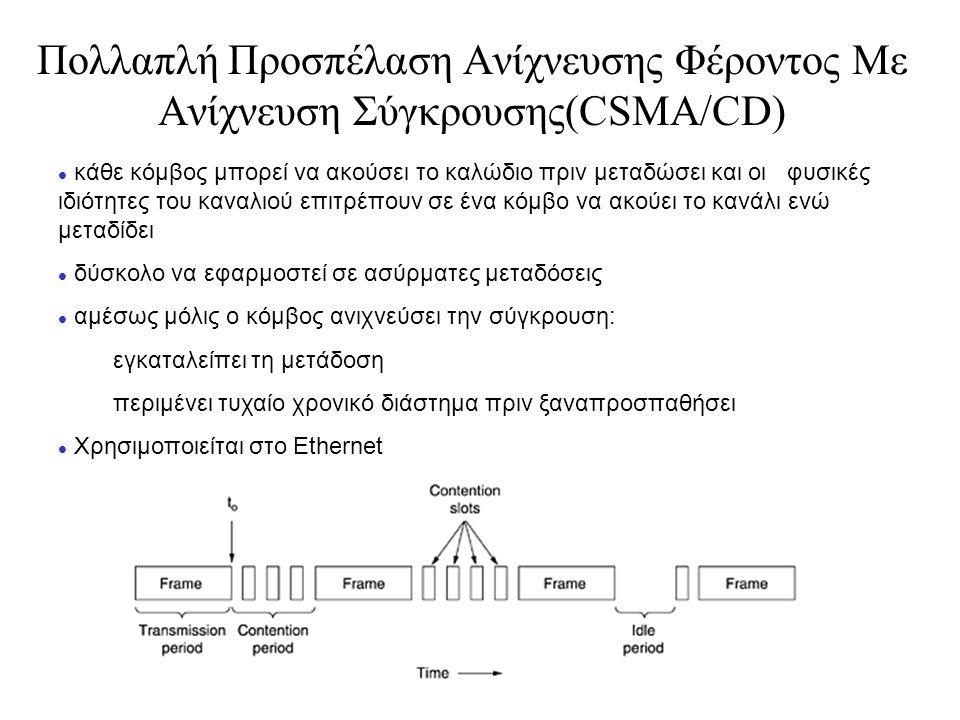 Πολλαπλή Προσπέλαση Ανίχνευσης Φέροντος Mε Ανίχνευση Σύγκρουσης(CSMA/CD) l κάθε κόμβος μπορεί να ακούσει το καλώδιο πριν μεταδώσει και οι φυσικές ιδιότητες του καναλιού επιτρέπουν σε ένα κόμβο να ακούει το κανάλι ενώ μεταδίδει l δύσκολο να εφαρμοστεί σε ασύρματες μεταδόσεις l αμέσως μόλις ο κόμβος ανιχνεύσει την σύγκρουση: εγκαταλείπει τη μετάδοση περιμένει τυχαίο χρονικό διάστημα πριν ξαναπροσπαθήσει l Χρησιμοποιείται στο Ethernet