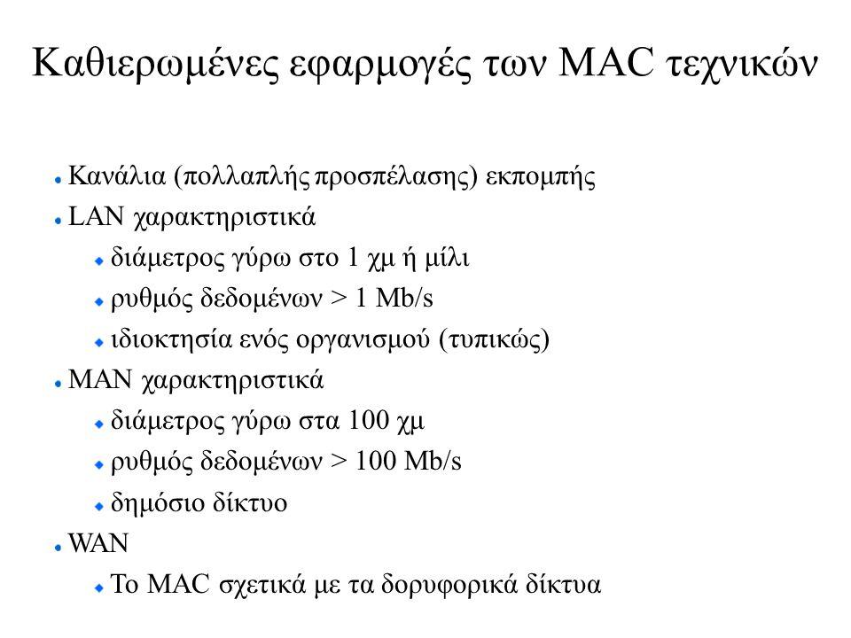 Καθιερωμένες εφαρμογές των MAC τεχνικών Κανάλια (πολλαπλής προσπέλασης) εκπομπής LAN χαρακτηριστικά διάμετρος γύρω στο 1 χμ ή μίλι ρυθμός δεδομένων > 1 Mb/s ιδιοκτησία ενός οργανισμού (τυπικώς) ΜΑΝ χαρακτηριστικά διάμετρος γύρω στα 100 χμ ρυθμός δεδομένων > 100 Mb/s δημόσιο δίκτυο WAN To ΜΑC σχετικά με τα δορυφορικά δίκτυα