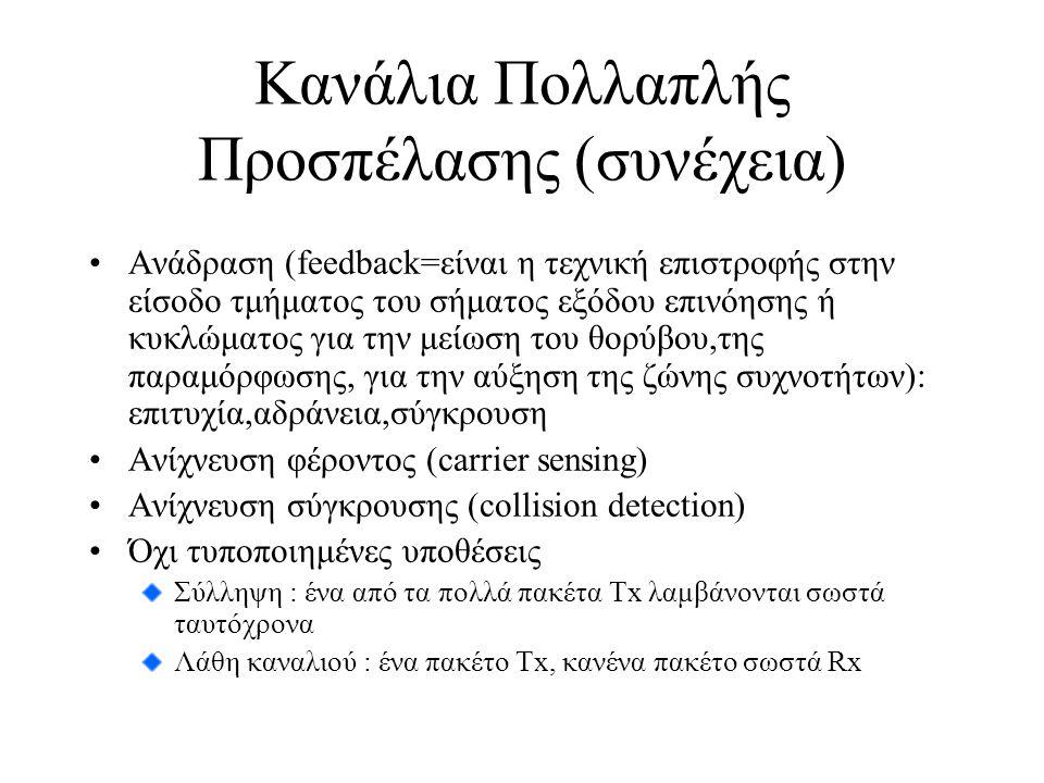 Κανάλια Πολλαπλής Προσπέλασης (συνέχεια) Ανάδραση (feedback=είναι η τεχνική επιστροφής στην είσοδο τμήματος του σήματος εξόδου επινόησης ή κυκλώματος για την μείωση του θορύβου,της παραμόρφωσης, για την αύξηση της ζώνης συχνοτήτων): επιτυχία,αδράνεια,σύγκρουση Ανίχνευση φέροντος (carrier sensing) Ανίχνευση σύγκρουσης (collision detection) Όχι τυποποιημένες υποθέσεις Σύλληψη : ένα από τα πολλά πακέτα Τx λαμβάνονται σωστά ταυτόχρονα Λάθη καναλιού : ένα πακέτο Τx, κανένα πακέτο σωστά Rx