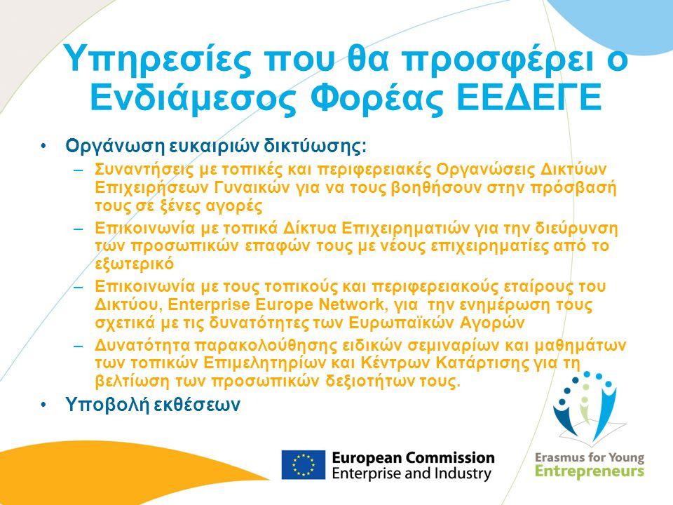 Υπηρεσίες που θα προσφέρει ο Ενδιάμεσος Φορέας ΕΕΔΕΓΕ Οργάνωση ευκαιριών δικτύωσης: –Συναντήσεις με τοπικές και περιφερειακές Οργανώσεις Δικτύων Επιχε