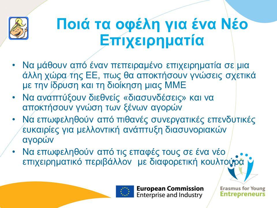 Ποιά τα οφέλη για ένα Νέο Επιχειρηματία Να μάθουν από έναν πεπειραμένο επιχειρηματία σε μια άλλη χώρα της ΕΕ, πως θα αποκτήσουν γνώσεις σχετικά με την
