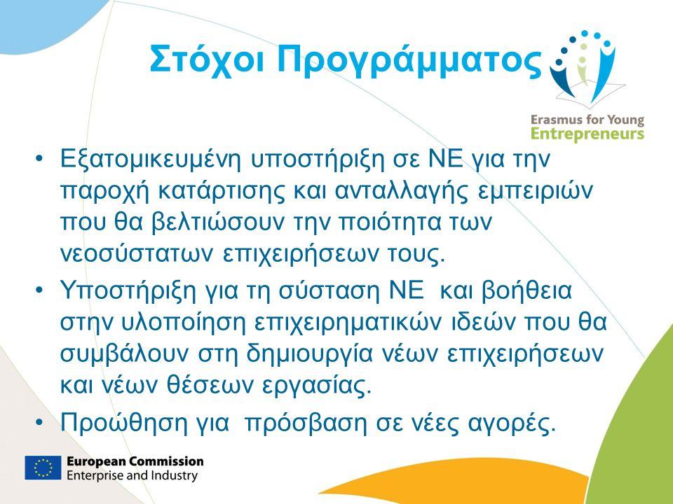 Στόχοι Προγράμματος Εξατομικευμένη υποστήριξη σε ΝΕ για την παροχή κατάρτισης και ανταλλαγής εμπειριών που θα βελτιώσουν την ποιότητα των νεοσύστατων