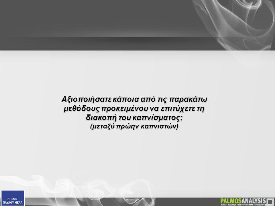 Αξιοποιήσατε κάποια από τις παρακάτω μεθόδους προκειμένου να επιτύχετε τη διακοπή του καπνίσματος;  Αξιοποιήσατε κάποια από τις παρακάτω μεθόδους προκειμένου να επιτύχετε τη διακοπή του καπνίσματος; (μεταξύ πρώην καπνιστών)