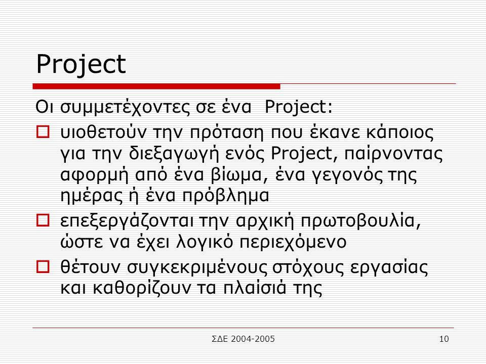ΣΔΕ 2004-200510 Project Οι συμμετέχοντες σε ένα Project:  υιοθετούν την πρόταση που έκανε κάποιος για την διεξαγωγή ενός Project, παίρνοντας αφορμή α
