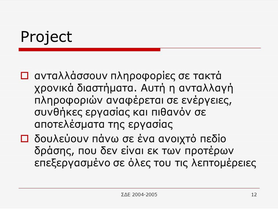 ΣΔΕ 2004-200512 Project  ανταλλάσσουν πληροφορίες σε τακτά χρονικά διαστήματα. Αυτή η ανταλλαγή πληροφοριών αναφέρεται σε ενέργειες, συνθήκες εργασία