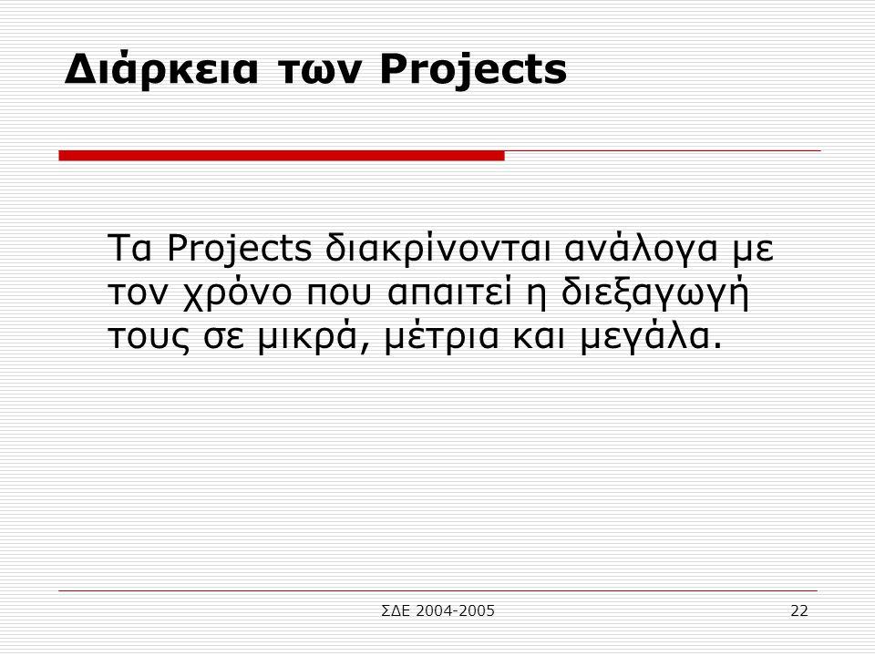 ΣΔΕ 2004-200522 Διάρκεια των Projects Tα Projects διακρίνονται ανάλογα με τον χρόνο που απαιτεί η διεξαγωγή τους σε μικρά, μέτρια και μεγάλα.