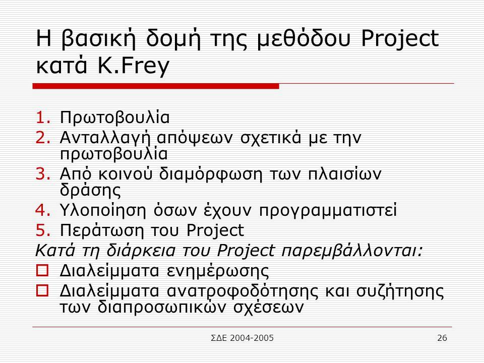 ΣΔΕ 2004-200526 Η βασική δομή της μεθόδου Project κατά Κ.Frey 1.Πρωτοβουλία 2.Ανταλλαγή απόψεων σχετικά με την πρωτοβουλία 3.Από κοινού διαμόρφωση των