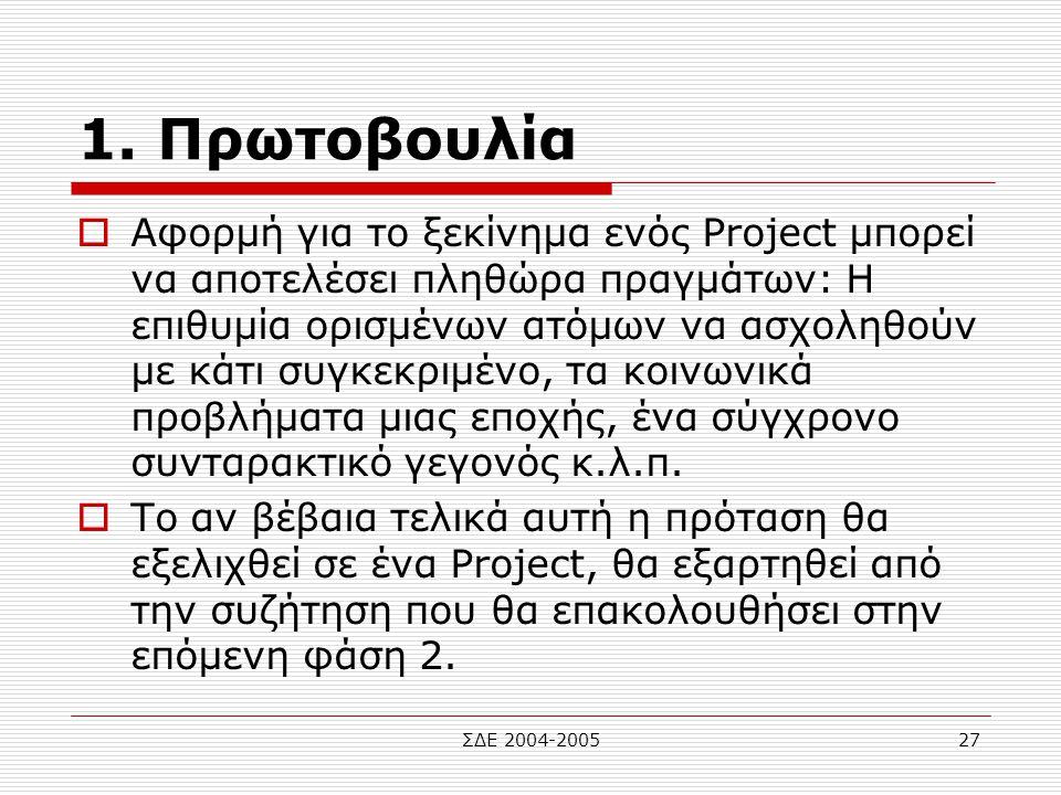 ΣΔΕ 2004-200527 1. Πρωτοβουλία  Αφορμή για το ξεκίνημα ενός Project μπορεί να αποτελέσει πληθώρα πραγμάτων: Η επιθυμία ορισμένων ατόμων να ασχοληθούν