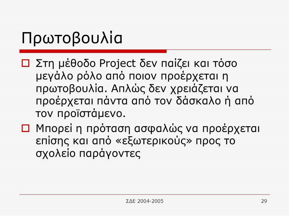 ΣΔΕ 2004-200529 Πρωτοβουλία  Στη μέθοδο Project δεν παίζει και τόσο μεγάλο ρόλο από ποιον προέρχεται η πρωτοβουλία. Απλώς δεν χρειάζεται να προέρχετα