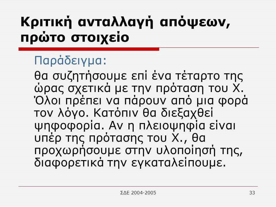 ΣΔΕ 2004-200533 Κριτική ανταλλαγή απόψεων, πρώτο στοιχείο Παράδειγμα: θα συζητήσουμε επί ένα τέταρτο της ώρας σχετικά με την πρόταση του Χ. Όλοι πρέπε