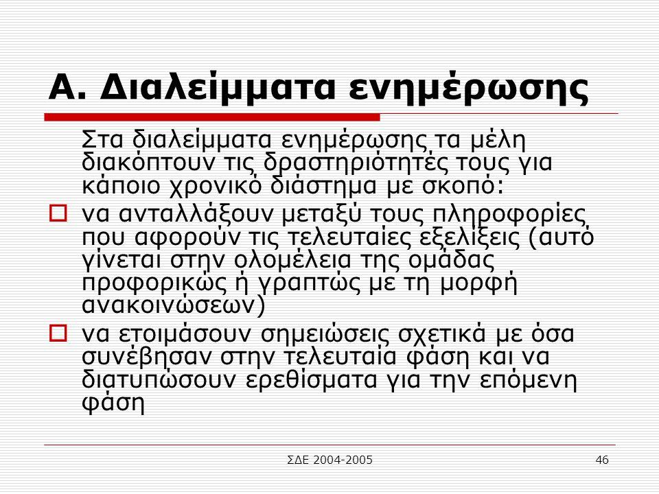 ΣΔΕ 2004-200546 Α. Διαλείμματα ενημέρωσης Στα διαλείμματα ενημέρωσης τα μέλη διακόπτουν τις δραστηριότητές τους για κάποιο χρονικό διάστημα με σκοπό: