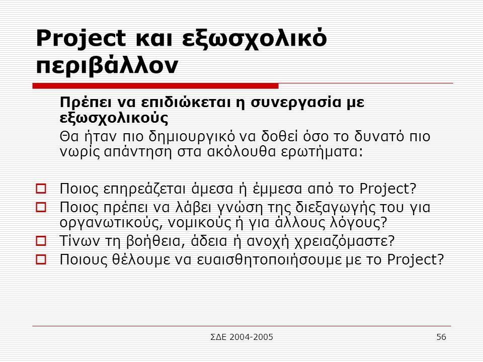 ΣΔΕ 2004-200556 Project και εξωσχολικό περιβάλλον Πρέπει να επιδιώκεται η συνεργασία με εξωσχολικούς Θα ήταν πιο δημιουργικό να δοθεί όσο το δυνατό πι