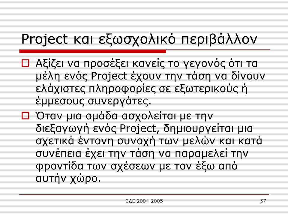 ΣΔΕ 2004-200557 Project και εξωσχολικό περιβάλλον  Αξίζει να προσέξει κανείς το γεγονός ότι τα μέλη ενός Project έχουν την τάση να δίνουν ελάχιστες π