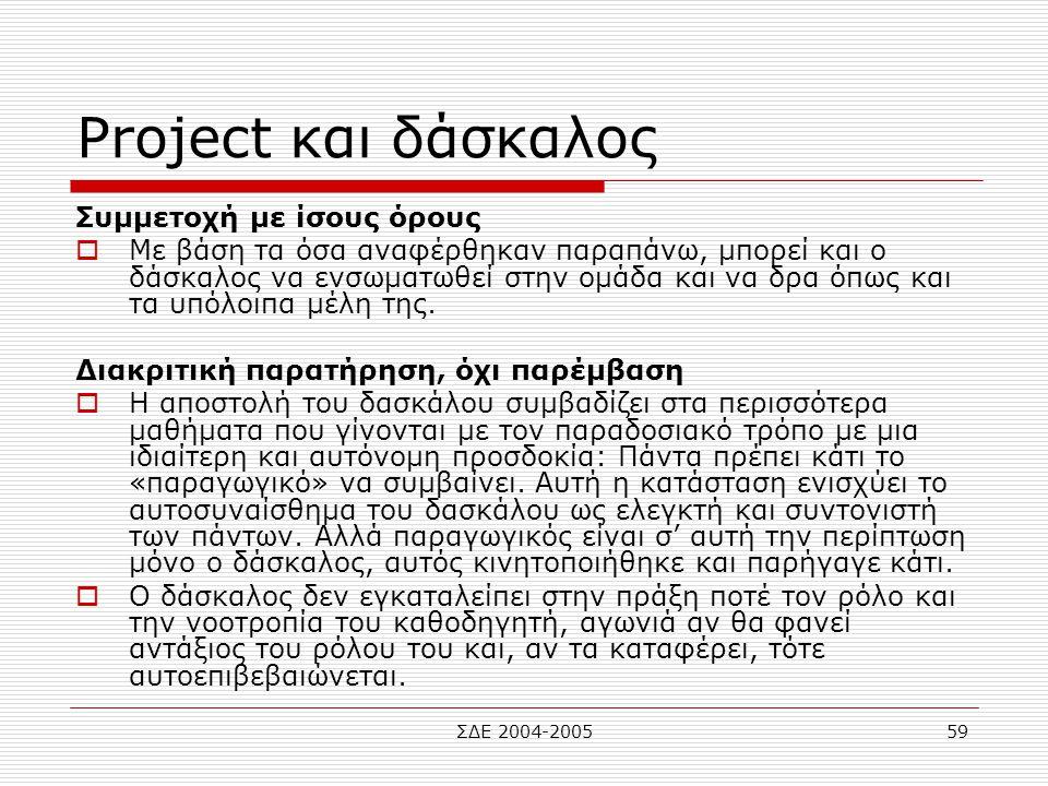 ΣΔΕ 2004-200559 Project και δάσκαλος Συμμετοχή με ίσους όρους  Με βάση τα όσα αναφέρθηκαν παραπάνω, μπορεί και ο δάσκαλος να ενσωματωθεί στην ομάδα κ