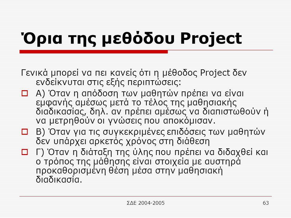ΣΔΕ 2004-200563 Όρια της μεθόδου Project Γενικά μπορεί να πει κανείς ότι η μέθοδος Project δεν ενδείκνυται στις εξής περιπτώσεις:  Α) Όταν η απόδοση