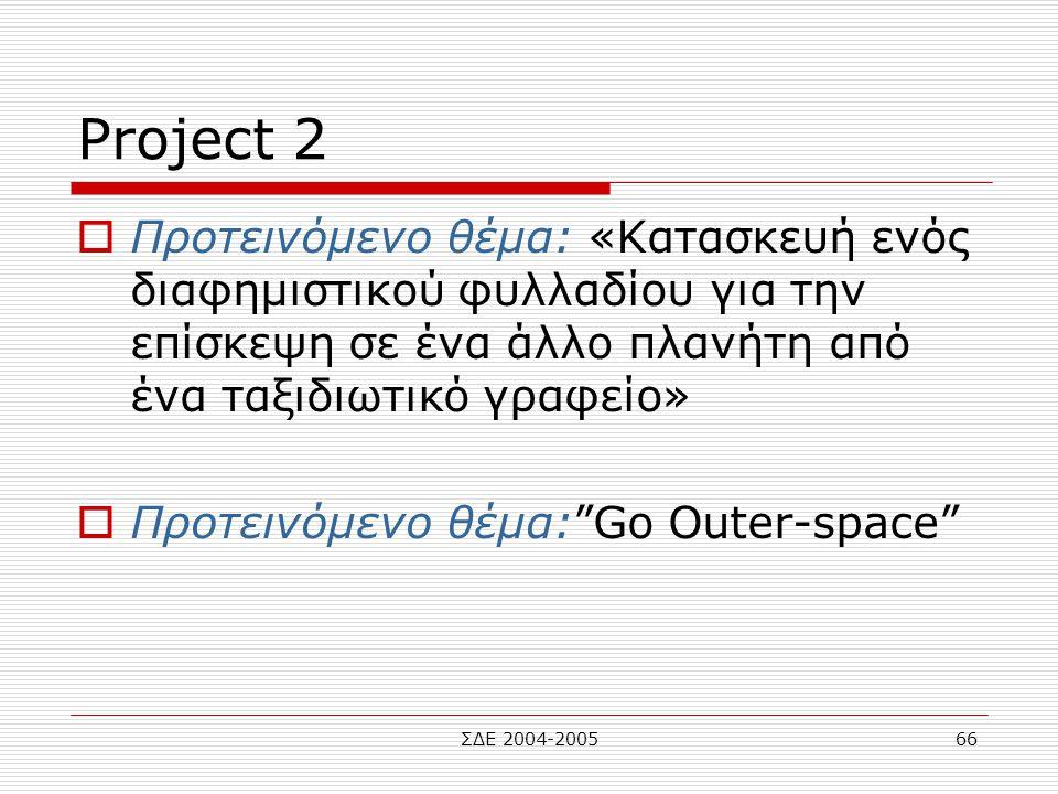 ΣΔΕ 2004-200566 Project 2  Προτεινόμενο θέμα: «Κατασκευή ενός διαφημιστικού φυλλαδίου για την επίσκεψη σε ένα άλλο πλανήτη από ένα ταξιδιωτικό γραφεί