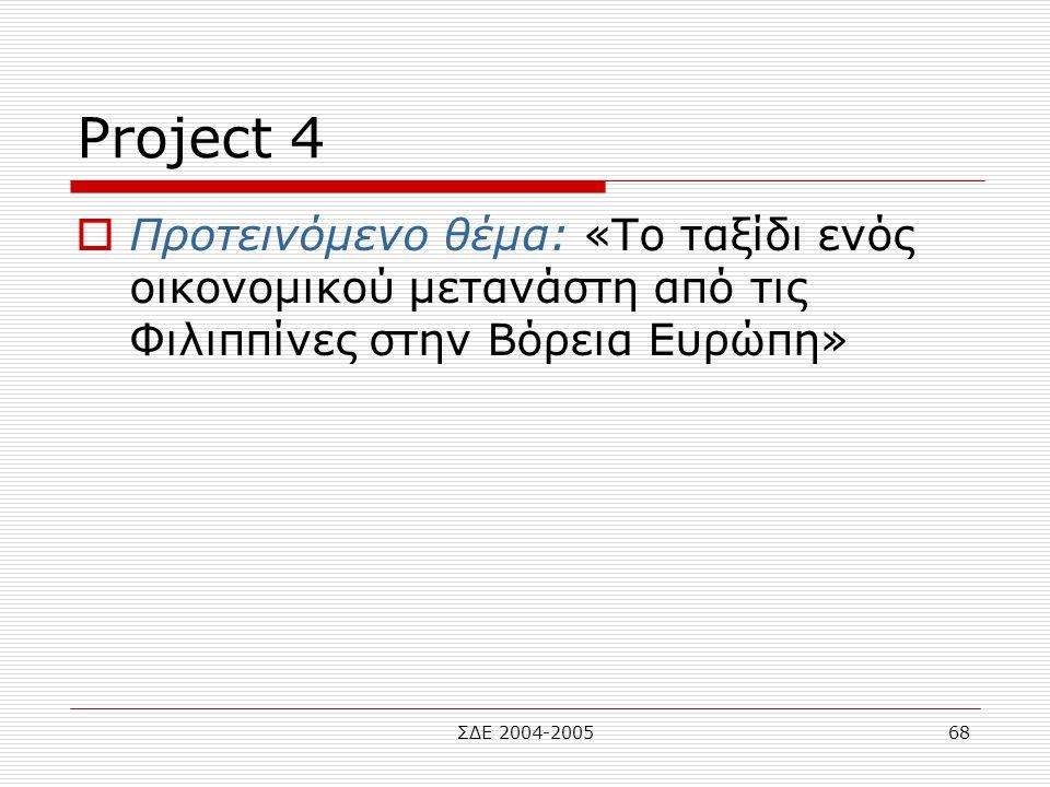 ΣΔΕ 2004-200568 Project 4  Προτεινόμενο θέμα: «Το ταξίδι ενός οικονομικού μετανάστη από τις Φιλιππίνες στην Βόρεια Ευρώπη»