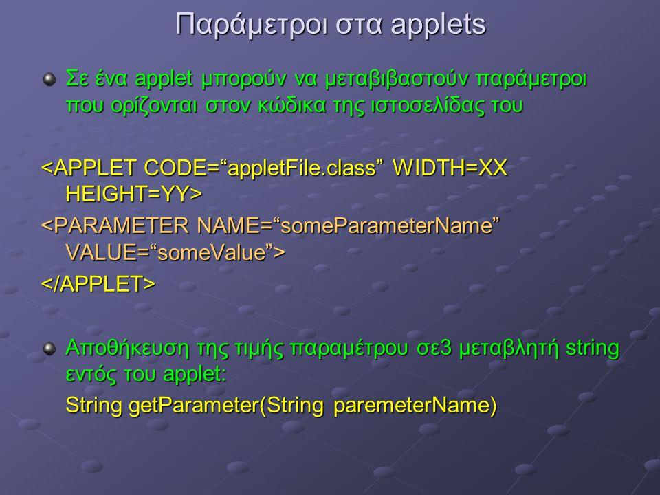 Παράμετροι στα applets Σε ένα applet μπορούν να μεταβιβαστούν παράμετροι που ορίζονται στον κώδικα της ιστοσελίδας του </APPLET> Αποθήκευση της τιμής παραμέτρου σε3 μεταβλητή string εντός του applet: String getParameter(String paremeterName)