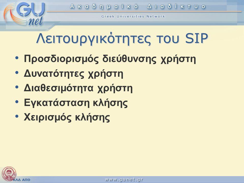ΚΛΔ ΑΠΘ Λειτουργικότητες του SIP Προσδιορισμός διεύθυνσης χρήστη Δυνατότητες χρήστη Διαθεσιμότητα χρήστη Εγκατάσταση κλήσης Χειρισμός κλήσης