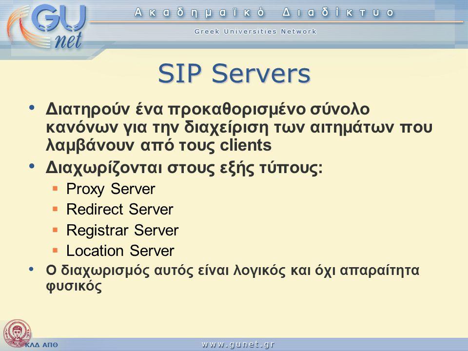 ΚΛΔ ΑΠΘ SIP Servers Διατηρούν ένα προκαθορισμένο σύνολο κανόνων για την διαχείριση των αιτημάτων που λαμβάνουν από τους clients Διαχωρίζονται στους εξής τύπους:  Proxy Server  Redirect Server  Registrar Server  Location Server Ο διαχωρισμός αυτός είναι λογικός και όχι απαραίτητα φυσικός