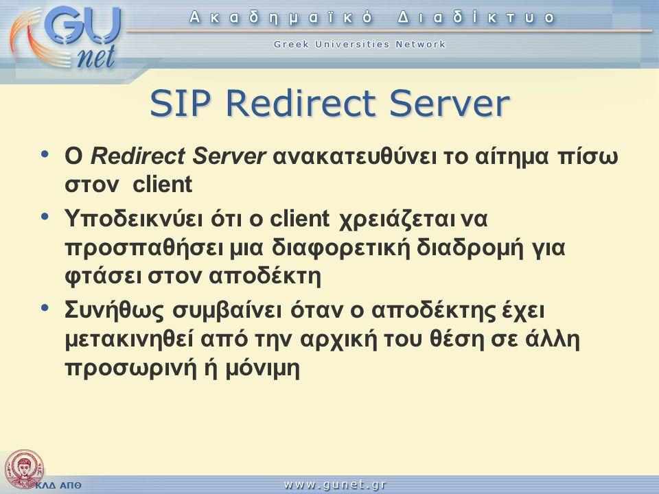 ΚΛΔ ΑΠΘ SIP Redirect Server O Redirect Server ανακατευθύνει το αίτημα πίσω στον client Υποδεικνύει ότι ο client χρειάζεται να προσπαθήσει μια διαφορετική διαδρομή για φτάσει στον αποδέκτη Συνήθως συμβαίνει όταν ο αποδέκτης έχει μετακινηθεί από την αρχική του θέση σε άλλη προσωρινή ή μόνιμη