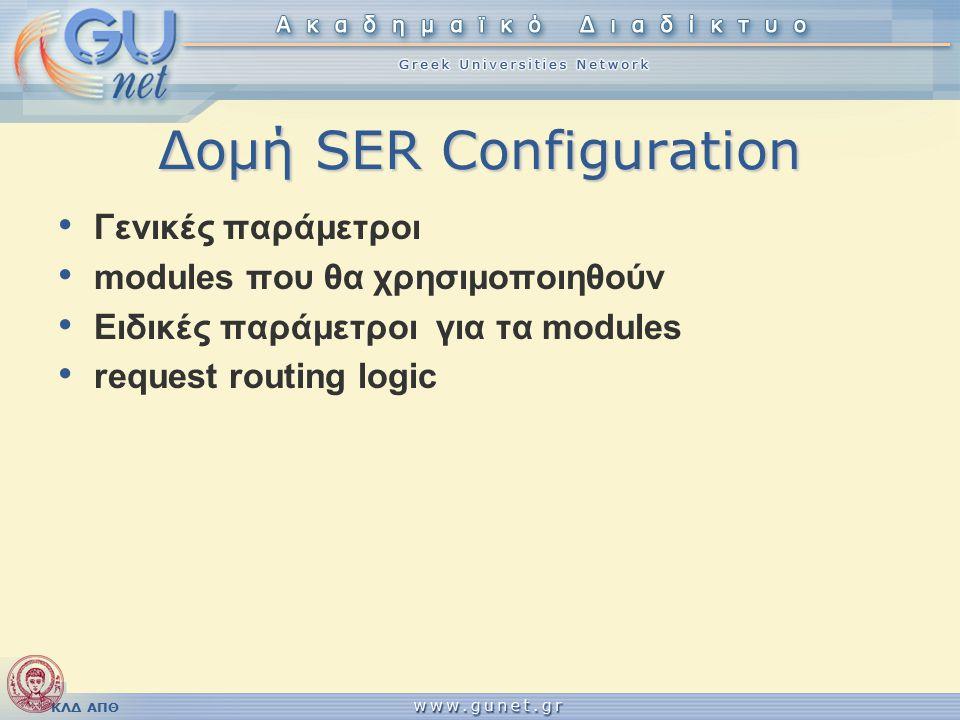 ΚΛΔ ΑΠΘ Δομή SER Configuration Γενικές παράμετροι modules που θα χρησιμοποιηθούν Ειδικές παράμετροι για τα modules request routing logic