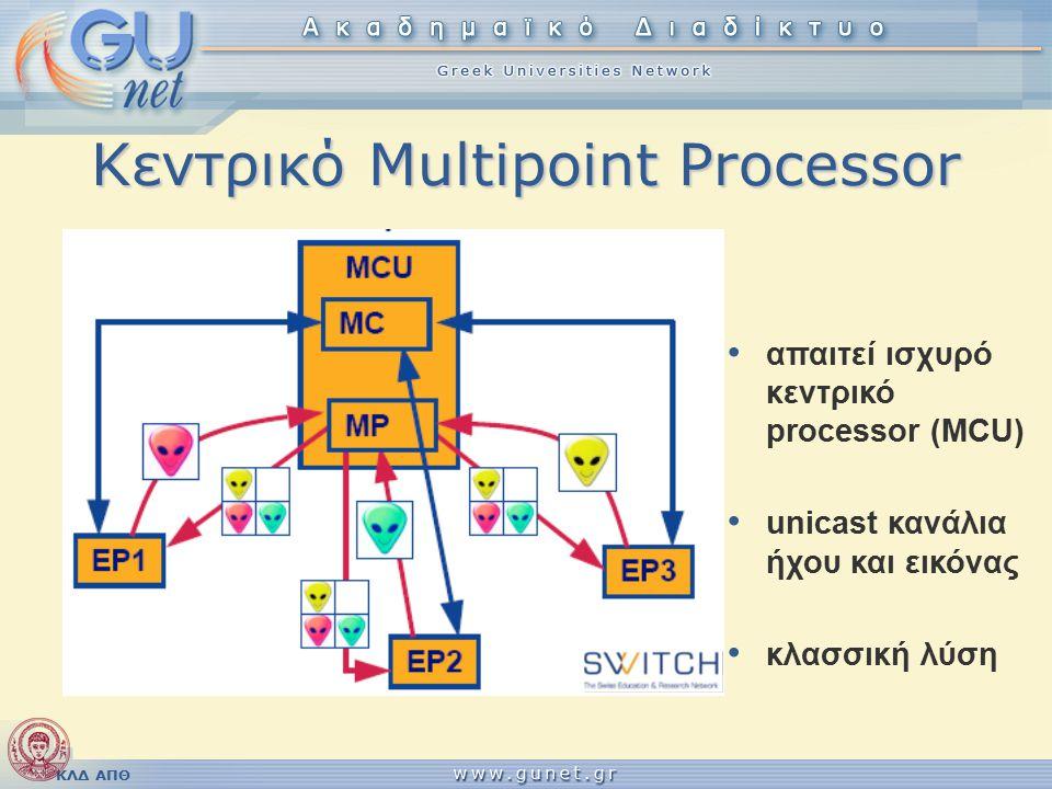 ΚΛΔ ΑΠΘ Κεντρικό Multipoint Processor απαιτεί ισχυρό κεντρικό processor (MCU) unicast κανάλια ήχου και εικόνας κλασσική λύση