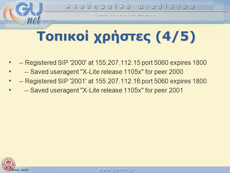ΚΛΔ ΑΠΘ Τοπικοί χρήστες (4/5) -- Registered SIP '2000' at 155.207.112.15 port 5060 expires 1800 -- Saved useragent