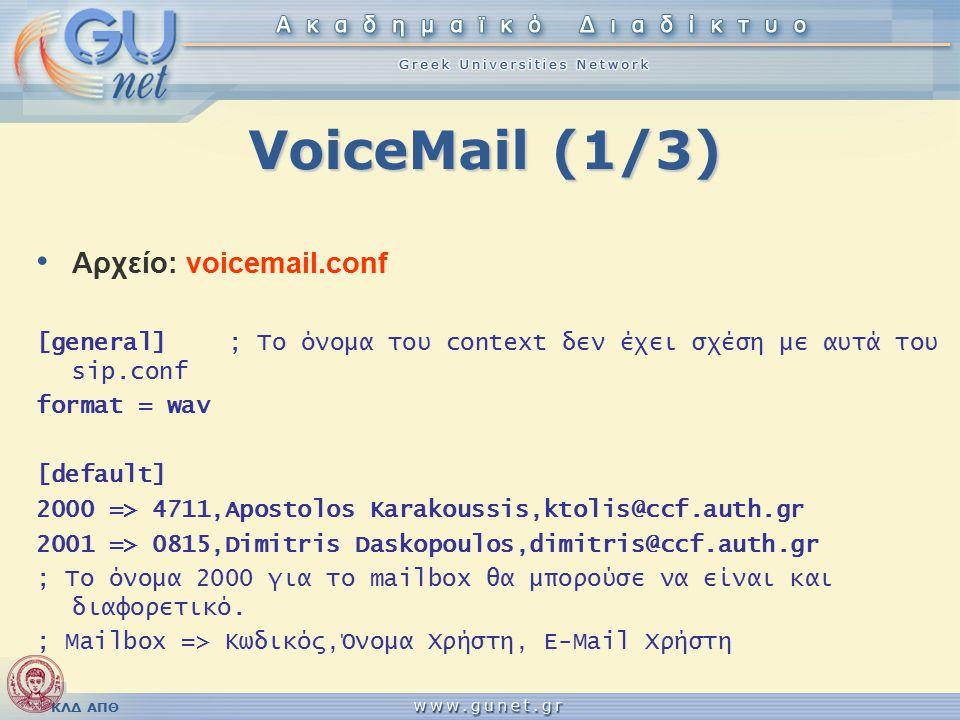 VoiceMail (1/3) Αρχείο: voicemail.conf [general]; Το όνομα του context δεν έχει σχέση με αυτά του sip.conf format = wav [default] 2000 => 4711,Apostolos Karakoussis,ktolis@ccf.auth.gr 2001 => 0815,Dimitris Daskopoulos,dimitris@ccf.auth.gr ; Το όνομα 2000 για το mailbox θα μπορούσε να είναι και διαφορετικό.