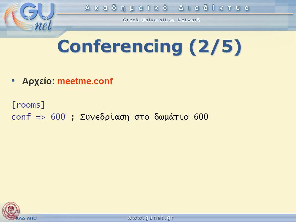 ΚΛΔ ΑΠΘ Conferencing (2/5) Αρχείο: meetme.conf [rooms] conf => 600 ; Συνεδρίαση στο δωμάτιο 600