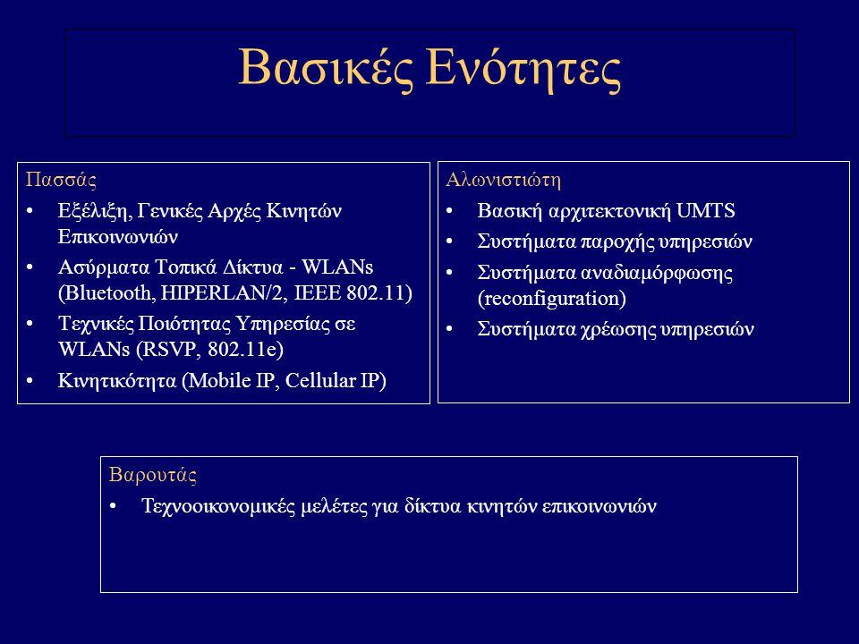 Βασικές Ενότητες Πασσάς Εξέλιξη, Γενικές Αρχές Κινητών Επικοινωνιών Ασύρματα Τοπικά Δίκτυα - WLANs (Bluetooth, HIPERLAN/2, IEEE 802.11) Τεχνικές Ποιότητας Υπηρεσίας σε WLANs (RSVP, 802.11e) Κινητικότητα (Mobile IP, Cellular IP) Αλωνιστιώτη Βασική αρχιτεκτονική UMTS Συστήματα παροχής υπηρεσιών Συστήματα αναδιαμόρφωσης (reconfiguration) Συστήματα χρέωσης υπηρεσιών Βαρουτάς Τεχνοοικονομικές μελέτες για δίκτυα κινητών επικοινωνιών