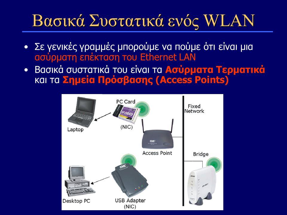 Σε γενικές γραμμές μπορούμε να πούμε ότι είναι μια ασύρματη επέκταση του Ethernet LAN Βασικά συστατικά του είναι τα Ασύρματα Τερματικά και τα Σημεία Πρόσβασης (Access Points) Βασικά Συστατικά ενός WLAN