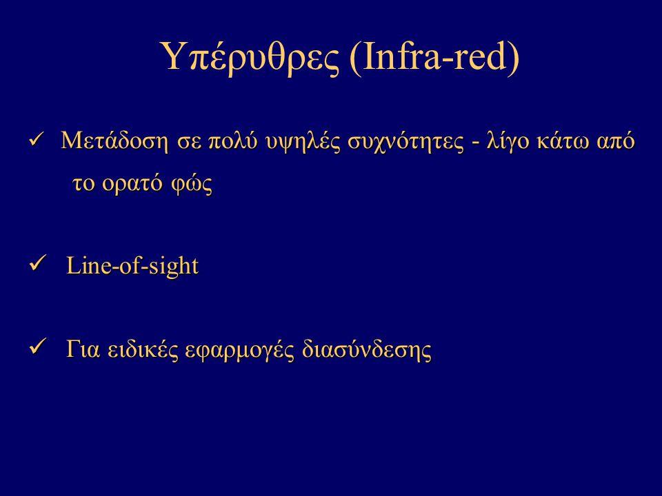 Υπέρυθρες (Infra-red) Μετάδοση σε πολύ υψηλές συχνότητες - λίγο κάτω από Μετάδοση σε πολύ υψηλές συχνότητες - λίγο κάτω από το ορατό φώς το ορατό φώς Line-of-sight Line-of-sight Για ειδικές εφαρμογές διασύνδεσης Για ειδικές εφαρμογές διασύνδεσης