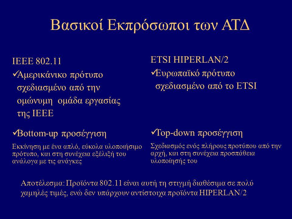 Βασικοί Εκπρόσωποι των ΑΤΔ IEEE 802.11 Αμερικάνικο πρότυπο σχεδιασμένο από την ομώνυμη ομάδα εργασίας της ΙΕΕΕ Bottom-up προσέγγιση Εκκίνηση με ένα απλό, εύκολα υλοποιήσιμο πρότυπο, και στη συνέχεια εξέλιξή του ανάλογα με τις ανάγκες ETSI HIPERLAN/2 Ευρωπαϊκό πρότυπο σχεδιασμένο από τo ETSI Top-down προσέγγιση Σχεδιασμός ενός πλήρους προτύπου από την αρχή, και στη συνέχεια προσπάθεια υλοποίησής του Αποτέλεσμα: Προϊόντα 802.11 είναι αυτή τη στιγμή διαθέσιμα σε πολύ χαμηλές τιμές, ενώ δεν υπάρχουν αντίστοιχα προϊόντα HIPERLAN/2