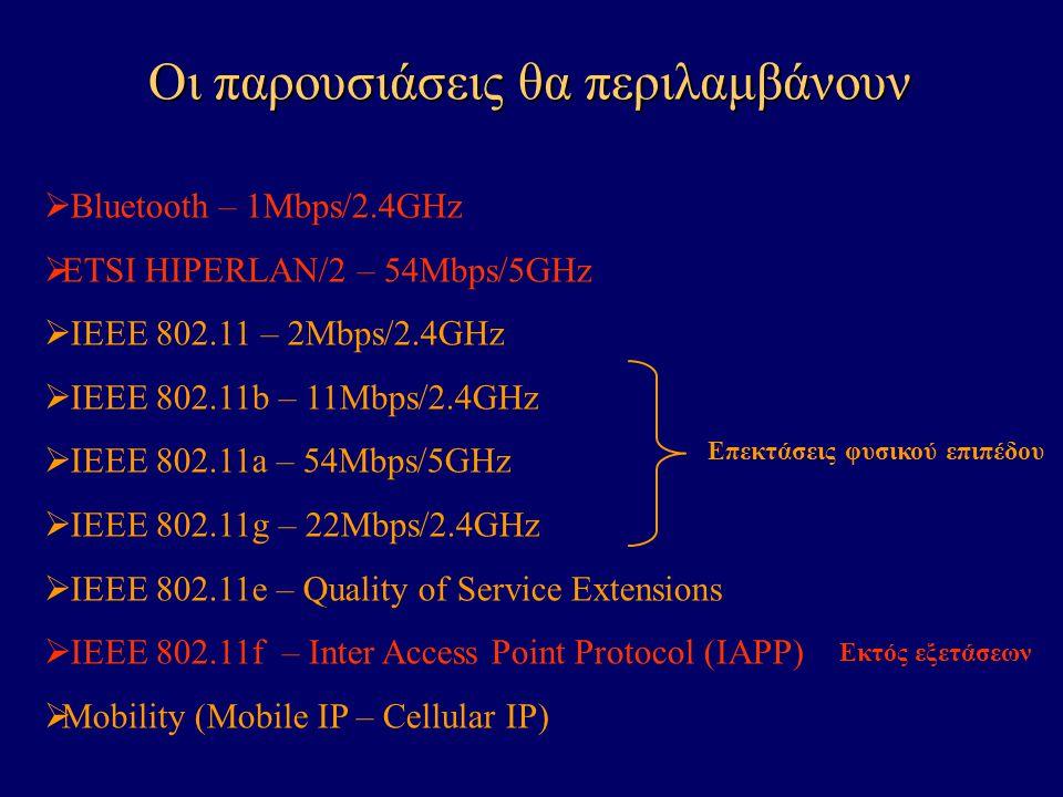  Bluetooth – 1Mbps/2.4GHz  ETSI HIPERLAN/2 – 54Mbps/5GHz  IEEE 802.11 – 2Mbps/2.4GHz  IEEE 802.11b – 11Mbps/2.4GHz  IEEE 802.11a – 54Mbps/5GHz  IEEE 802.11g – 22Mbps/2.4GHz  IEEE 802.11e – Quality of Service Extensions  IEEE 802.11f – Inter Access Point Protocol (IAPP)  Mobility (Mobile IP – Cellular IP) Επεκτάσεις φυσικού επιπέδου Οι παρουσιάσεις θα περιλαμβάνουν Εκτός εξετάσεων