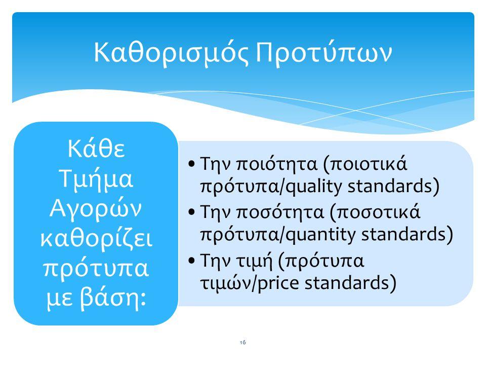 Την ποιότητα (ποιοτικά πρότυπα/quality standards) Την ποσότητα (ποσοτικά πρότυπα/quantity standards) Την τιμή (πρότυπα τιμών/price standards) Κάθε Τμή