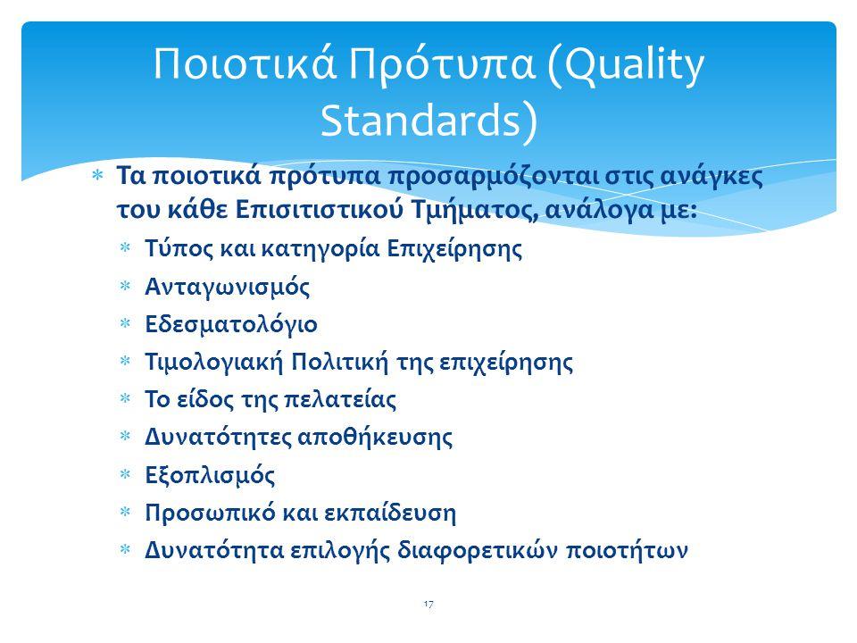  Τα ποιοτικά πρότυπα προσαρμόζονται στις ανάγκες του κάθε Επισιτιστικού Τμήματος, ανάλογα με:  Τύπος και κατηγορία Επιχείρησης  Ανταγωνισμός  Εδεσ