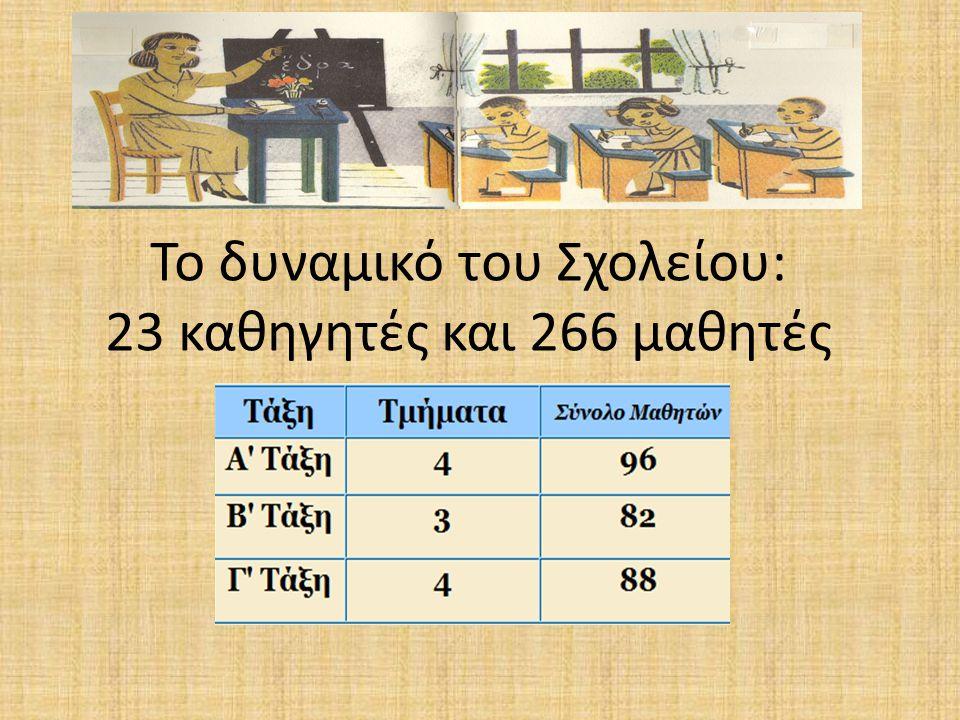 Το δυναμικό του Σχολείου: 23 καθηγητές και 266 μαθητές