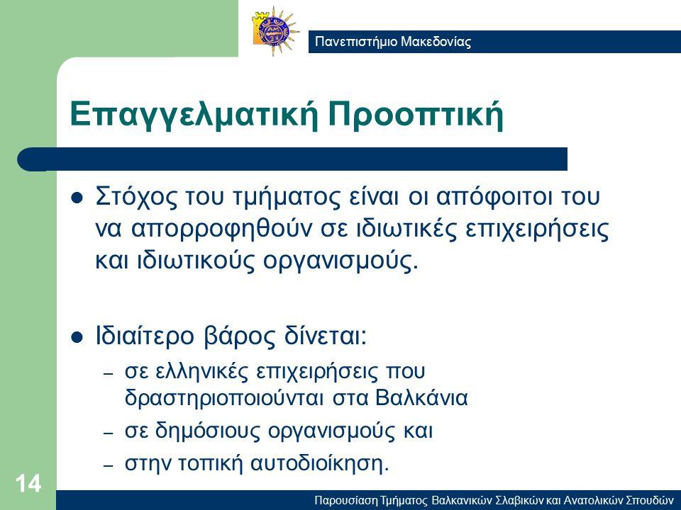 Παρουσίαση Τμήματος Βαλκανικών Σλαβικών και Ανατολικών Σπουδών Πανεπιστήμιο Μακεδονίας 14 Επαγγελματική Προοπτική Στόχος του τμήματος είναι οι απόφοιτοι του να απορροφηθούν σε ιδιωτικές επιχειρήσεις και ιδιωτικούς οργανισμούς.
