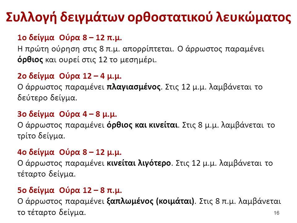 Συλλογή δειγμάτων ορθοστατικού λευκώματος 1ο δείγμα Ούρα 8 – 12 π.μ.