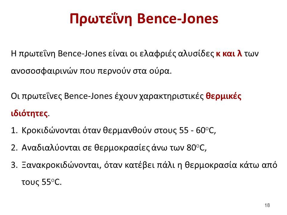 Πρωτεΐνη Bence-Jones H πρωτεΐνη Bence-Jones είναι οι ελαφριές αλυσίδες κ και λ των ανοσοσφαιρινών που περνούν στα ούρα. Οι πρωτεΐνες Βence-Jones έχουν