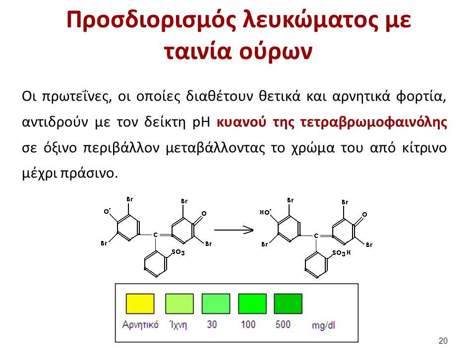Προσδιορισμός λευκώματος με ταινία ούρων Οι πρωτεΐνες, οι οποίες διαθέτουν θετικά και αρνητικά φορτία, αντιδρούν με τον δείκτη pH κυανού της τετραβρωμοφαινόλης σε όξινο περιβάλλον μεταβάλλοντας το χρώμα του από κίτρινο μέχρι πράσινο.
