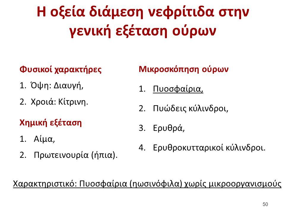 Η οξεία διάμεση νεφρίτιδα στην γενική εξέταση ούρων Φυσικοί χαρακτήρες 1.Όψη: Διαυγή, 2.Χροιά: Κίτρινη. Χημική εξέταση 1.Αίμα, 2.Πρωτεινουρία (ήπια).