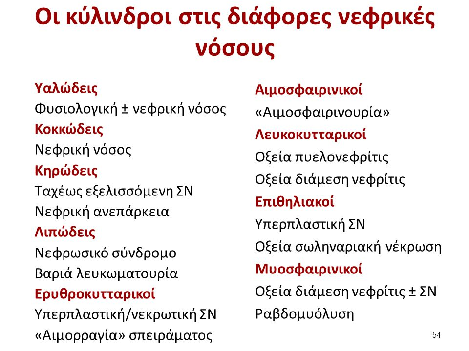 Οι κύλινδροι στις διάφορες νεφρικές νόσους Υαλώδεις Φυσιολογική ± νεφρική νόσος Κοκκώδεις Νεφρική νόσος Κηρώδεις Ταχέως εξελισσόμενη ΣΝ Νεφρική ανεπάρκεια Λιπώδεις Νεφρωσικό σύνδρομο Βαριά λευκωματουρία Ερυθροκυτταρικοί Υπερπλαστική/νεκρωτική ΣΝ «Αιμορραγία» σπειράματος Αιμοσφαιρινικοί «Αιμοσφαιρινουρία» Λευκοκυτταρικοί Οξεία πυελονεφρίτις Οξεία διάμεση νεφρίτις Επιθηλιακοί Υπερπλαστική ΣΝ Οξεία σωληναριακή νέκρωση Μυοσφαιρινικοί Οξεία διάμεση νεφρίτις ± ΣΝ Ραβδομυόλυση 54