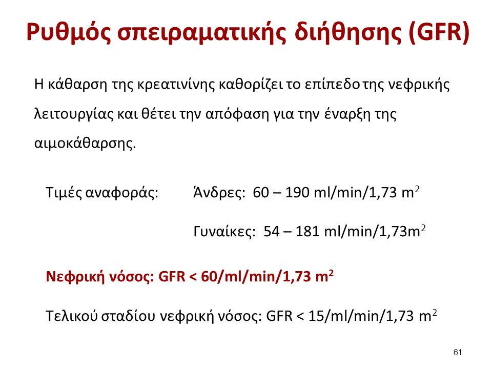 Ρυθμός σπειραματικής διήθησης (GFR) H κάθαρση της κρεατινίνης καθορίζει το επίπεδο της νεφρικής λειτουργίας και θέτει την απόφαση για την έναρξη της αιμοκάθαρσης.
