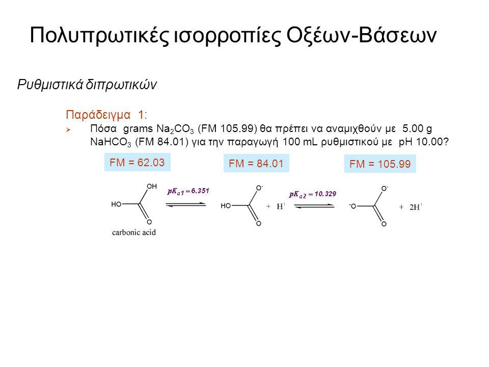 Πολυπρωτικές ισορροπίες Οξέων-Βάσεων Ρυθμιστικά διπρωτικών οξέων Ισχύει η ίδια προσέγγιση με τα ρυθμιστικά των μονοπρωτικών οξέων  Γράφουμε τις δύο ε