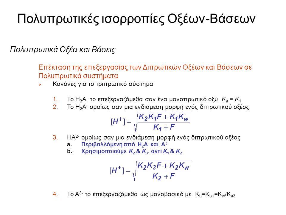 Πολυπρωτικές ισορροπίες Οξέων-Βάσεων Πολυπρωτικά Οξέα και Βάσεις Επέκταση της επεξεργασίας των Διπρωτικών Οξέων και Βάσεων σε Πολυπρωτικά συστήματα 
